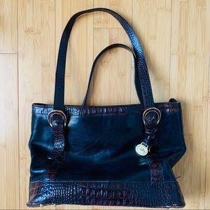 Brahmin Black/Brown Leather Crocodile Handbag